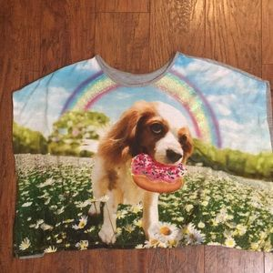 Justice girls puppy eating donut glitter shirt
